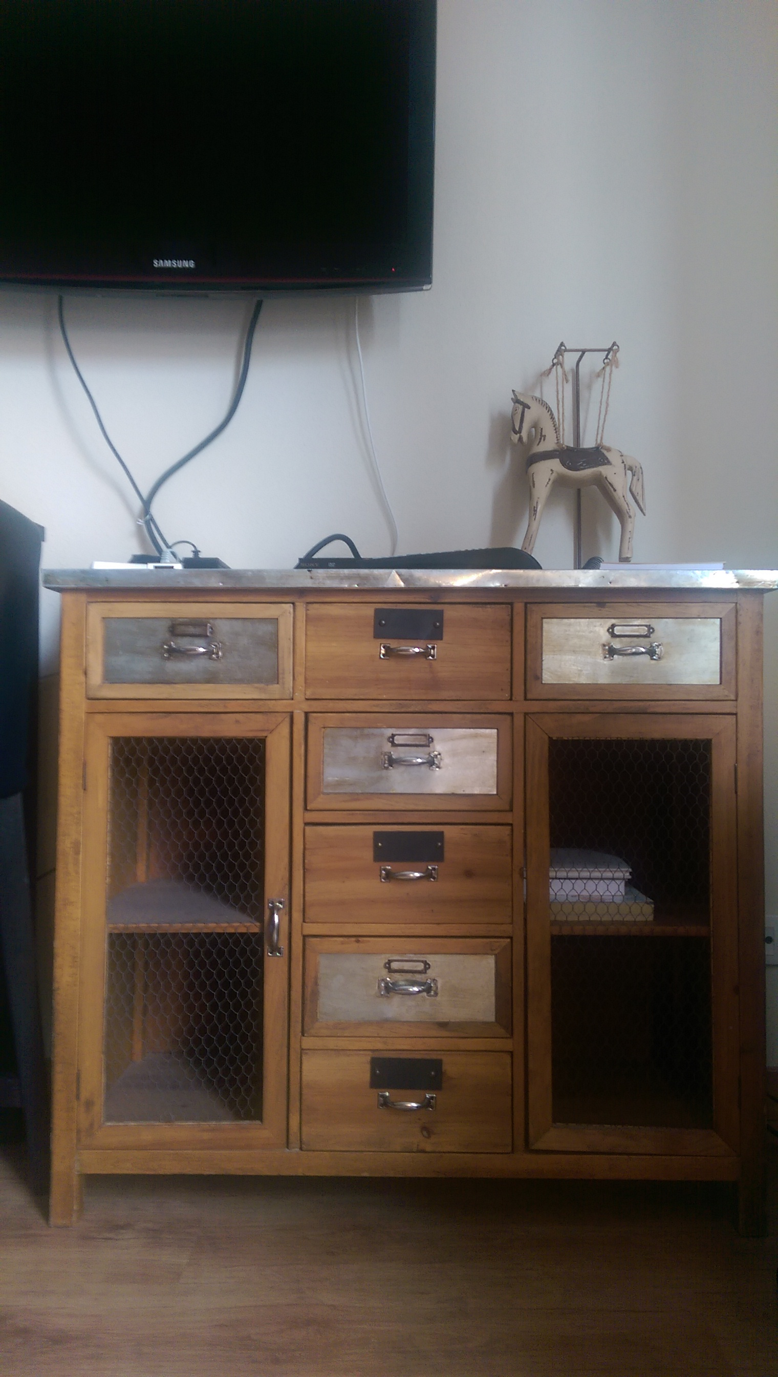 My Sweet Home Abroad cabinet and TV