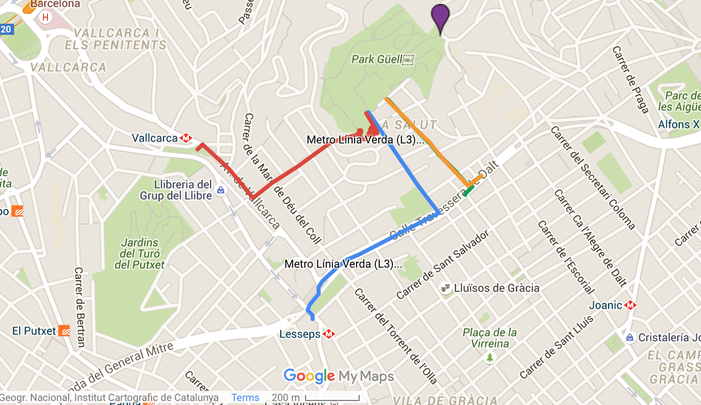 Map to Park Guell