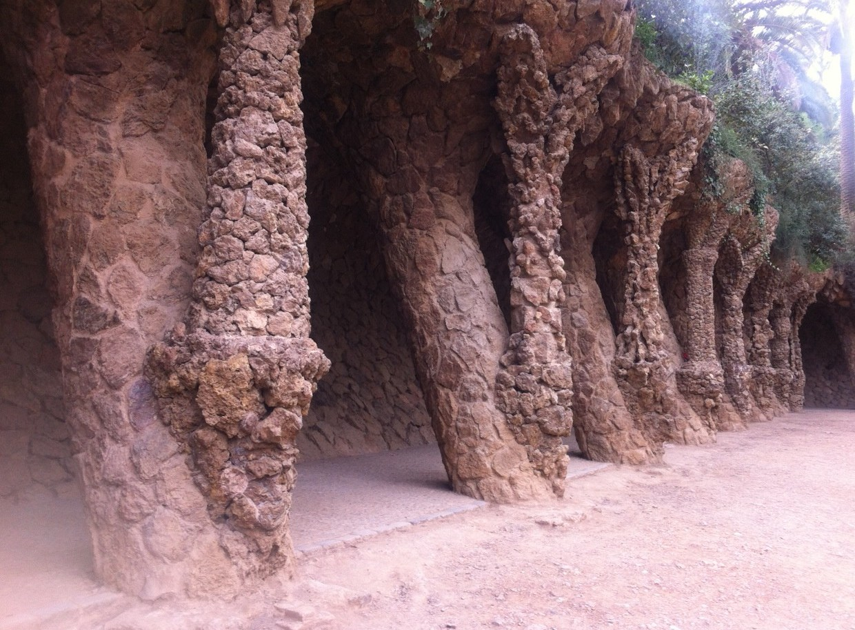 Slanted arches Park Guell
