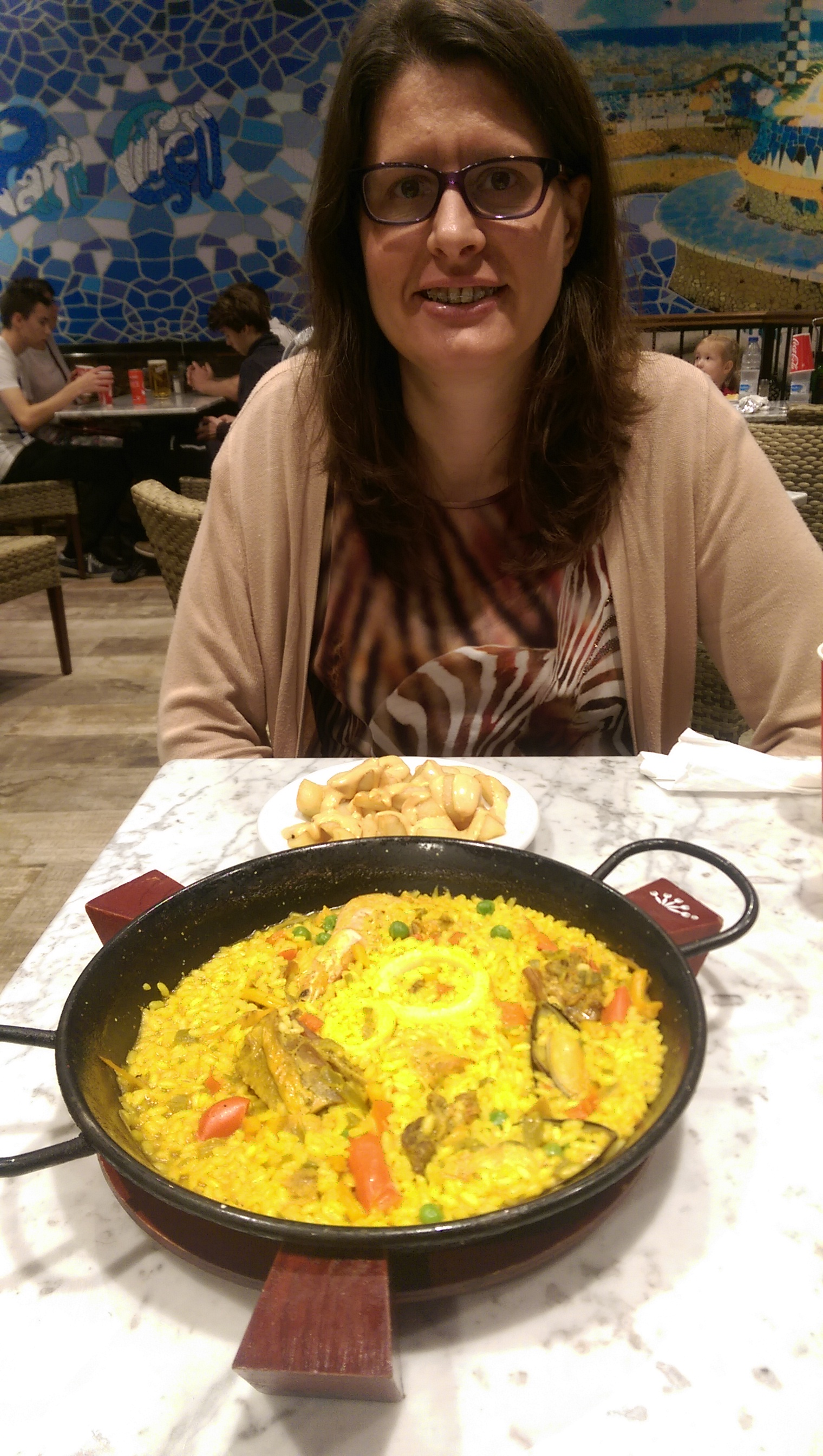 Amy and Paella and Patatas Bravas