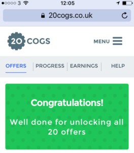 Completing 20 Cogs