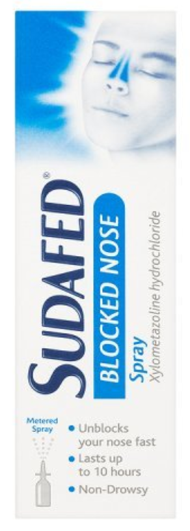 Don't fly with a cold! Sudafed blocked nose spray