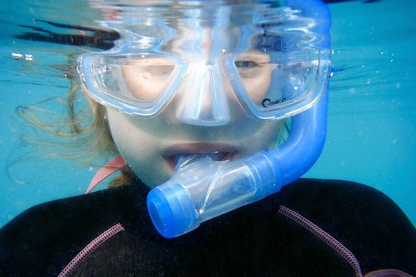 snorkelling with glasses
