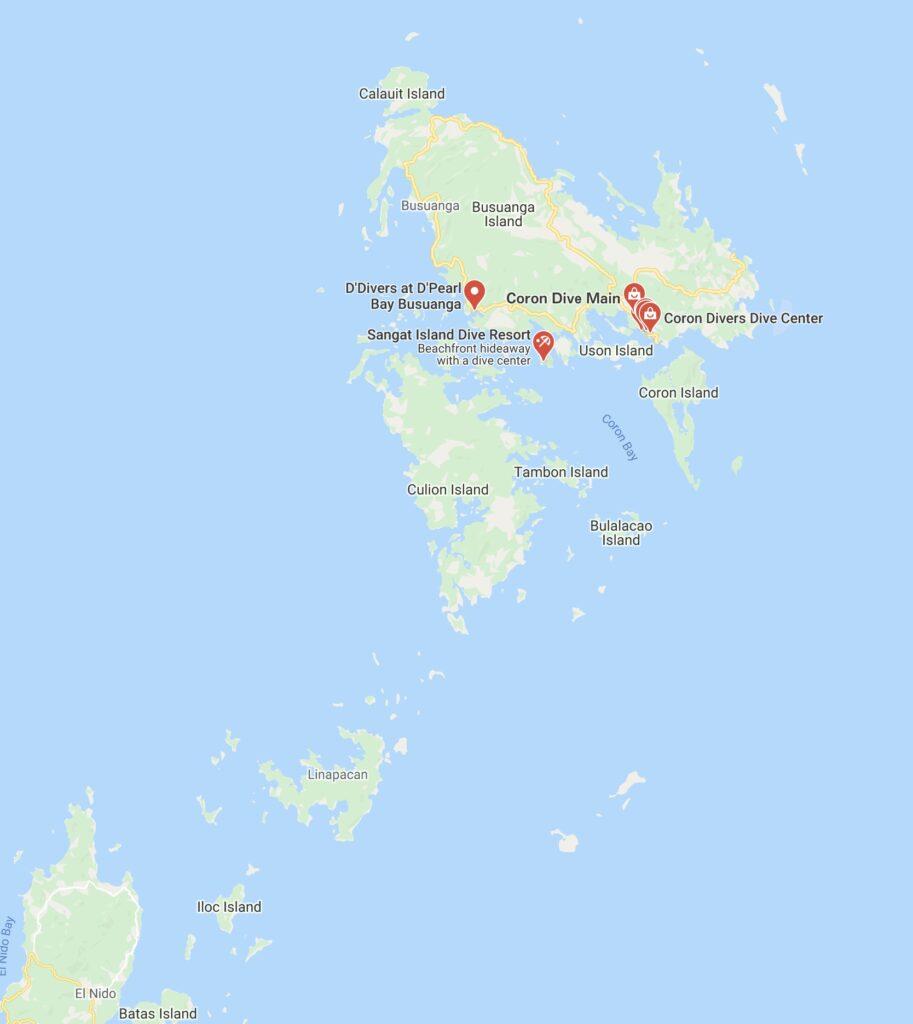 Suba diving Coron map